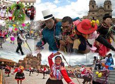 CELEBRA LOS CARNAVALES EN CUSCO  Los carnavales, se trata de una fiesta tradicional que se celebra entre los meses de enero y marzo, tradicional por el colorido de sus danzas y juegos acompañados con agua y talco. El canto y el baile incaico subsisten en la danza. Los quechuas han hecho de los carnavales un medio especial para realzar su raza y dar culto al amor, la tierra y la fecundidad, a través de alegres coreografías llenas de color.