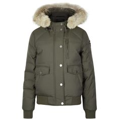 Pajar Margaret Army Green Fur-trimmed Parka - Size XS ($790) ❤ liked on Polyvore featuring outerwear, coats, olive green parka coat, zip coat, padded parka, pajar coats and army green parkas