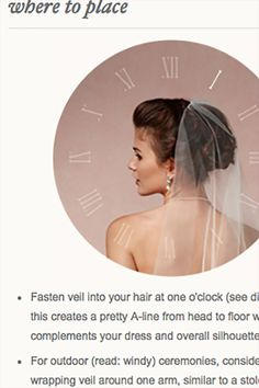 89047d36ab44 Wedding veil and headpiece style guide from BHLDN. How to place it on your  head