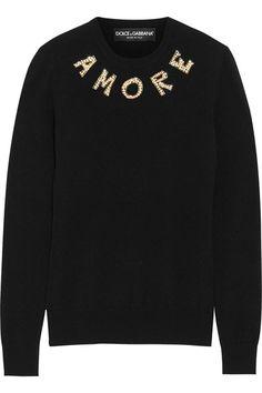 Dolce & Gabbana | Embellished cashmere sweater | NET-A-PORTER.COM