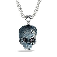 Waves Skull Amulet with Black Diamonds and Gray Titanium on Chain