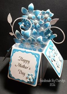 MOTHER'S DAY POP-UP BOX CARD by: carolynshellard ~ Die-sire Embossing Folder ~ Cheery Lynn Flourish ~ Heartfelt Creations Flowers