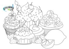 Online Cupcake Coloring Pages Enjoy Food