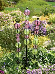Garden Art: Stacked Glass Bubble Stake | Gardener's Supply