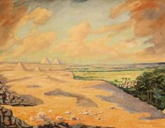 "Sir Winston Churchill, O.M., R.A. (1874-1965) ""The Giza Pyramids at Cairo"""