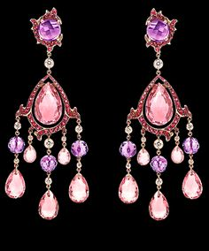 Ralph Lauren 18K rose gold earrings w/diamonds, amethysts & tourmalines