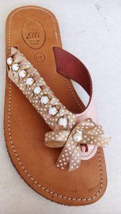 Handmade leather sandals designed by Elli lyraraki Embellished Shoes, Leather Carving, Designer Sandals, Palm Beach Sandals, Handmade Leather, Decoration, Leather Sandals, Greek, Flats