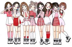 No photo description available. Kpop Drawings, 3d Drawings, Cartoon Drawings, Twice Fanart, Character Drawing, Cute Dolls, Cute Illustration, Drawing People, Unique Art
