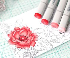 Beautiful Rose Colored with Copic Markers