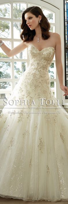The Sophia Tolli Spring 2016 Wedding Dress Collection - Style No. Y11630 - Kim #laceweddingdress