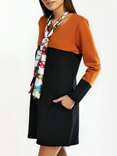 Loose-Fitting Hit Color Scoop Neck Dress With Long Sleeve