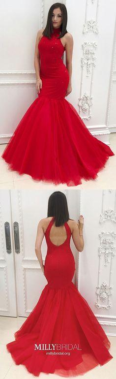 Long Prom Dresses Mermaid, Red Evening Dresses Elegant, Open Back Graduation Dresses For Teens, Tight Formal Dresses High Neck