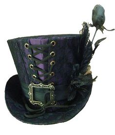 Gothic Halloween Steampunk Purple Black Lace Top Hat with Rose | eBay