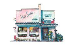 Colorful Watercolor Paintings Immortalize Tokyo's Historical Storefronts. Animator Mateusz Urbanowicz. 건축가가 집을 지어주겠다며 이런 그림을 그려준다면... 난 고민없이 내집을 맡길 것이다.  * 집을 짓다는것은 꿈이 현실이 되는 만화같은 이야기이다.