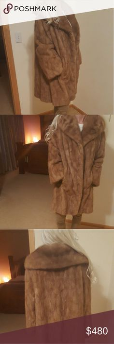 Gorgeous Vintage Mink Coat. Custom made vintage Mink jacket. 2 outside pockets, 1 hidden inside pocket, initials on inside lining(See Photo) 3 front closures-sleeves can be rolled up or down. I think this would a size small or medium best. For reference, I'm a size xs. Jackets & Coats