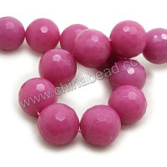 Gemstone Beads, Magenta Rose Jade, Faceted round, Approx 18mm, Hole: Approx 1.2mm, 22pcs per strand, Sold by strands