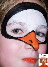 Penguin face painting.