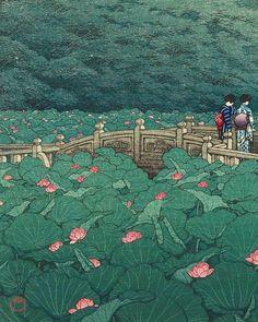 Kawase Hasui: The Pond at Benten Shrine in Shiba, 1929 Estampe - Japan Illustration, Japanese Art Prints, Japanese Painting, Kunst Inspo, Art Inspo, Fantasy Kunst, Fantasy Art, Art Asiatique, Traditional Japanese Art