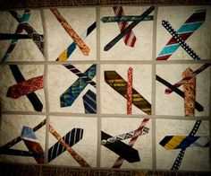 ties knots You are in the right place about patchwork quilting videos Here we offer you the most beautiful pictures about the patchwork quilting baby you are looking for. When you examine the ti Quilting Projects, Quilting Designs, Sewing Projects, Necktie Quilt, Shirt Quilts, Tie Crafts, Man Quilt, Scrappy Quilts, Patchwork Quilting