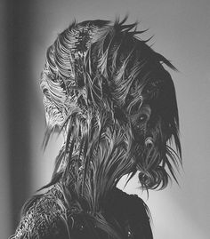 Though they're created digitally, Can Pekdemir's portraits mimic the high-contrast values of daguerreotypes. Pekdemir conjures up strange, furry creatures using modeling software, gi… Cgi, Alien Figure, Photo Fair, Digital Portrait, Digital Art, Generative Art, Weird Creatures, Black And White Portraits, Cultura Pop
