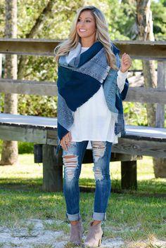 Blue Plaid Blanket Scarf Shop Simply Me Boutique Shop SMB – Simply Me Boutique