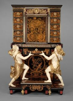 André-Charles Boulle  Fancy Cabinet on stand  its a wood marquetry , bronze mount and oak veneered pewter brass ,ebony,horn,ivory and tortoiseshell. Drawers of snakewood and drawn figures of painted and gilded oak .