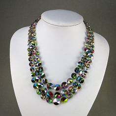 Vintage Drapey Necklace Faceted Glass Jewelry Aurora Borealis Colours Rhinestones Clasp Statement Necklace Vintage Jewellery by OldTextiles on Etsy https://www.etsy.com/listing/184950555/vintage-drapey-necklace-faceted-glass