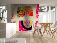 White timber and colorful art. Perfect combination
