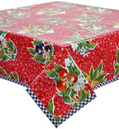 Slightly Imperfect Plum Red Oilcloth Tablecloth with Navy Gingham Trim