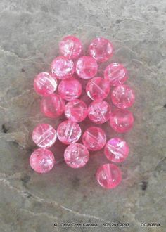 Pink 12mm Crackle Glass Beads                           CC-80659