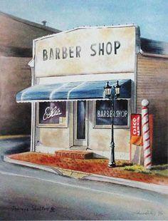 Front façade of vintage barber shop