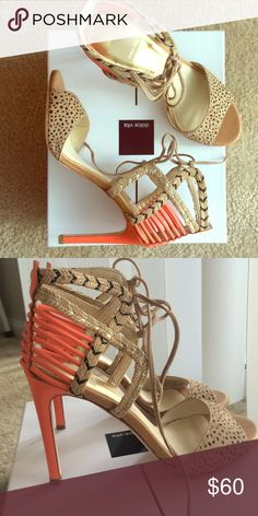 Dolce Vita heels Never worn Dolce Vita spotted coral suede heels, size 8.5. Come with box. Perfect for a night out on the town! Dolce Vita Shoes Heels