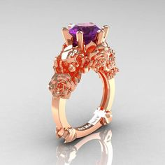 Love and Sorrow 14K Rose Gold 3.0 Ct Amethyst Skull and Rose