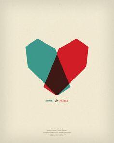 graphic design, juliet, geometric prints, heart, romeo