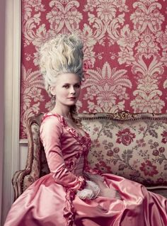 Kirsten Dunst as Marie in her hot pink gown with fabulous hair