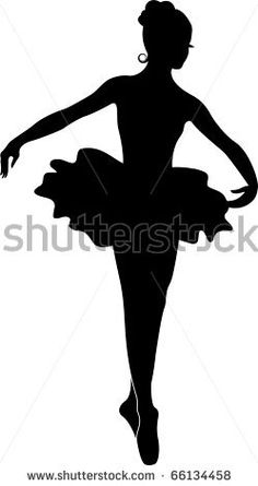 Black silhouette of the young ballerina. Isolated on a white background. - stock vector