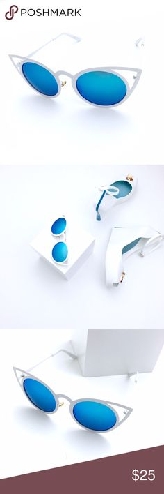 Cat Eyes White with blue Mirrored Lenses Sunnies Adorable Sunnies. These are metal frames all in white with blue mirrored lenses. They are dark sunnies when you put them on. No blueish colors are cast, so don't worry. The world will still look normal. They are regular size, not oversized. I think these are so beautiful! Pictures are mine. Shoes are available for sale in my closet! Boutique Accessories Sunglasses