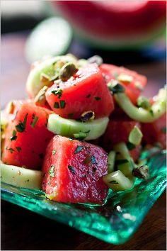 Cucumber Watermelon Salad |  Ingredients  4 cups cubed seedless watermelon  1 medium cucumber, halved and sliced  1/8 cup minced fresh mint  1/8 cup olive oil  1/8 cup balsamic vinegar  1/4 teaspoon salt  1/4 teaspoon pepper_ A keeper!