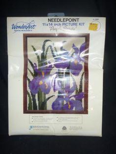 Vintage-New-in-Pkg-Wonderart-Needlepoint-Kit-5265-Purple-Beauty-Iris