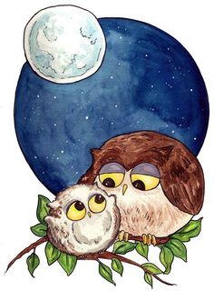 A nursery print - perfect for Owl lovers. Mama owl and baby owl. Or Papa Owl, Auntie Owl, Nana Owl...that's kinda the beauty of owls, they could represent a lot of folks. --By Georgia Dunn