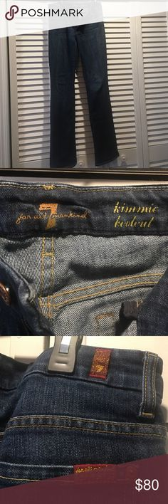 Seven for All Mankind Kimmie Bootcut Gently worn Seven For All Mankind Kimmie Bootcut jeans. Super soft, dark denim wash. Low to mid rise. Tiny amount of piling in the inner thigh bit barely noticeable. Washed, never dried. Non smoking home. 7 For All Mankind Jeans Boot Cut