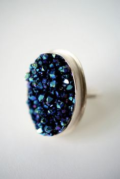 Cosmic Blue and Purple Druzy ring  ONE of A KIND by hannahnaomi, $125.00