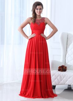 A-Line/Princess Scoop Neck Floor-Length Chiffon Holiday Dress With Ruffle Beading (020017361) - JJsHouse