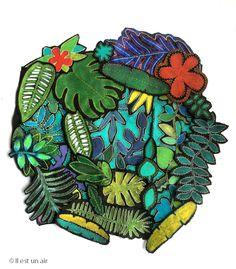 Feuilles en tissu peintes et brodées. Esprit tropical du Douanier Rousseau... © Il est un air