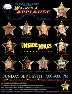 DENISE VASQUEZ BUSTING OUT: Denise Vasquez Presents WO+MEN 4 APPLAUSE Variety Show @Inside Jokes Comedy Club Sept 28th 7:00-9:00 PM