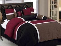 Chezmoi Collection 7-Piece Quilted Patchwork Comforter Set Queen Burgundy Brown and Black