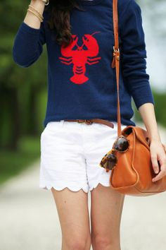 lobster sweater, white scalloped shorts