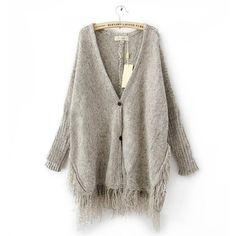 Women Open Knit Cardigan long sleeve grey fall oversized Tassels Coat
