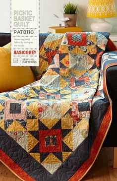 Picnic Basket Quilt Pattern by BasicGrey by CraftyMtnGirl on Etsy, $7.99