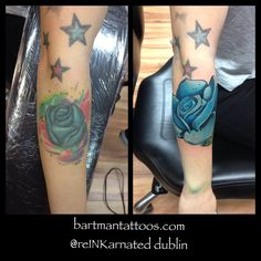 One of Bart's roses used to cover up a previous blue rose. Watercolor Tattoo, Cover Up, Roses, Tattoos, Artist, Blue, Tatuajes, Pink, Tattoo